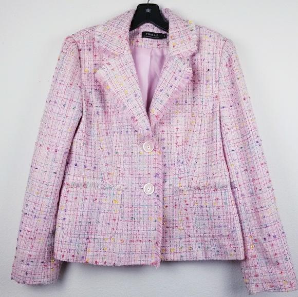 Tribal Jackets & Blazers - Tribal pink frayed edge tweed blazer